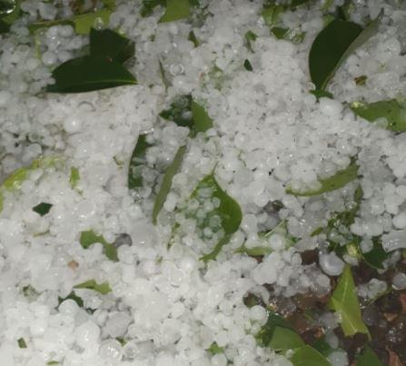 Em São Miguel do Oeste a chuva de granizo foi registrada pelos moradores no último domingo (27) - Wh Comunicações