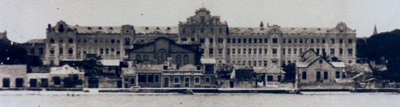 Fachada do Catarinense, em 1958. Vista da Baía Norte – Foto: Acervo / Colégio Catarinense