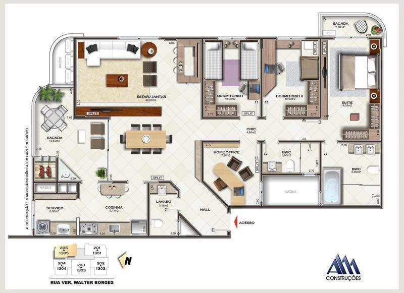 Planta baixa de um dos apartamentos do Lídia Dircksen: espaço e conforto - AM Construções/Divulgação