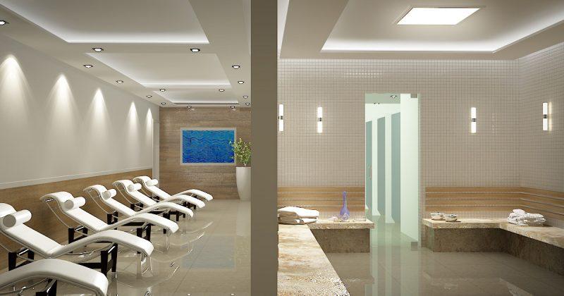 Sauna faz parte da área social comum no Lídia Dircksen Residence, em São José - AM Construções/Divulgação