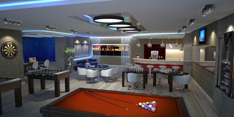 Salão de jogos e outras facilidades compõem áreas sociais completas em residenciais sofisticados como o Lídia Dircksen - AM Construções/Divulgação/ND