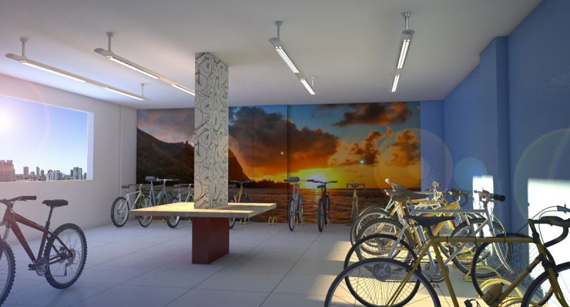 Bicicletário traz comodidade aos moradores do Lídia Dircksen - AM Construções/Divulgação