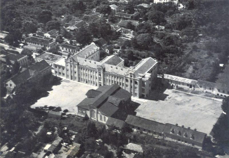 Foto aérea de parte do patrimônio arquitetônico em 1942 – Foto: Acervo / Colégio Catarinense