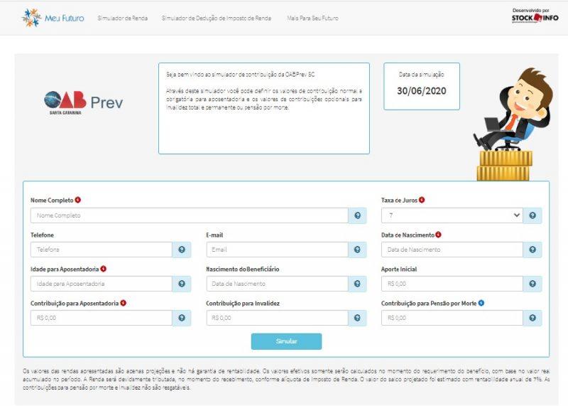 Simulador de renda permite projetar valor da aposentadoria na previdência privada. – Foto: OABPrev-SC