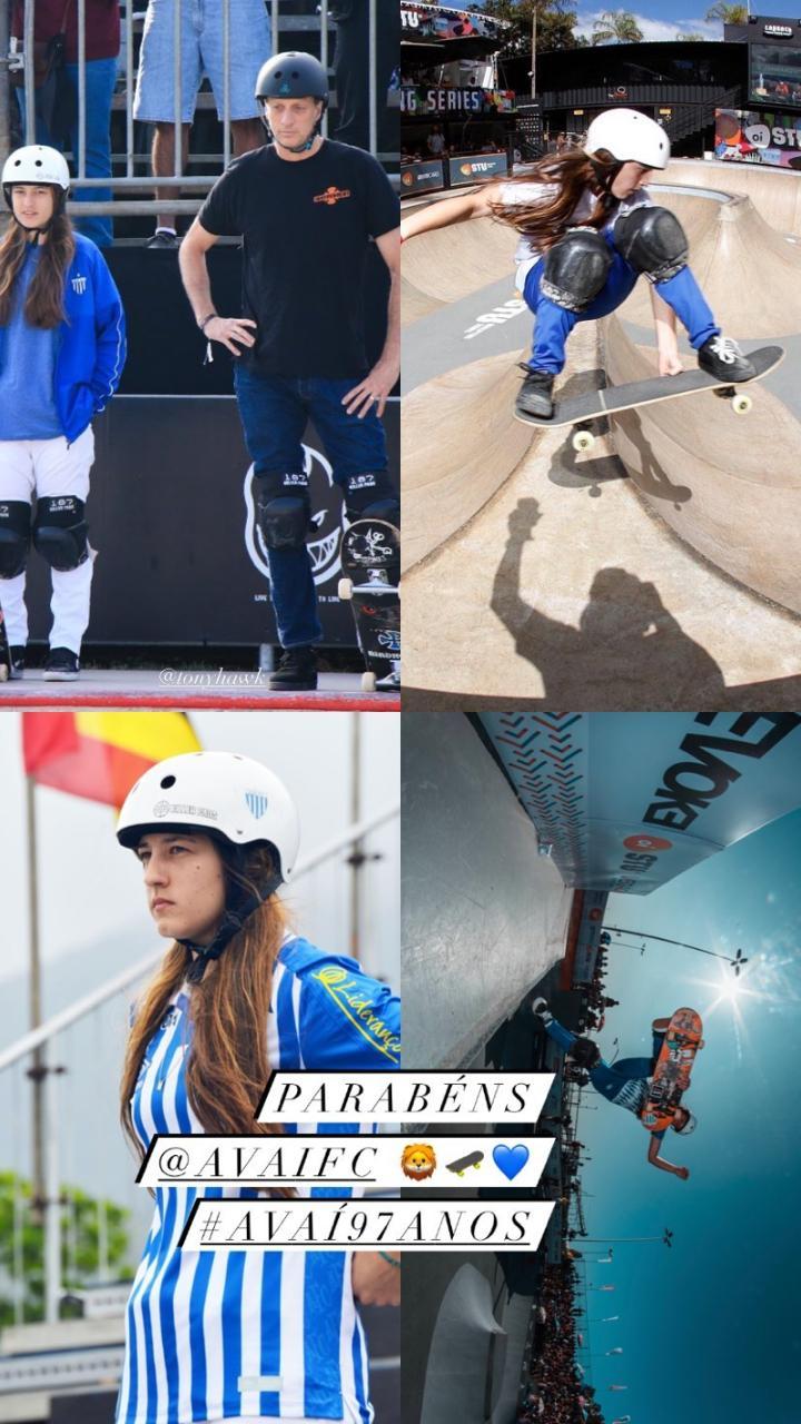 Torcedora do Avaí, a skatista Emily Antunes deixou seus parabéns - Reprodução/ND