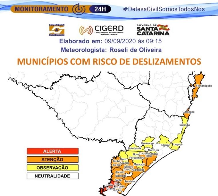 Alerta é voltado para cidades localizadas ao Sul do Estado – Foto: Defesa Civil/Divulgação