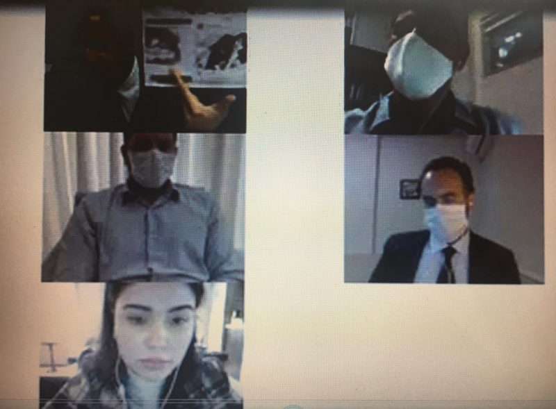 Advogado Cláudio Gastão da Rosa Filho (à esquerda acima), juiz Rudson Marcos (à direita acima), promotor Thiago Carriço de Oliveira (à esquerda abaixo), defensor público (à direita abaixo) e Mariana Ferrer – Foto: Reprodução/ND