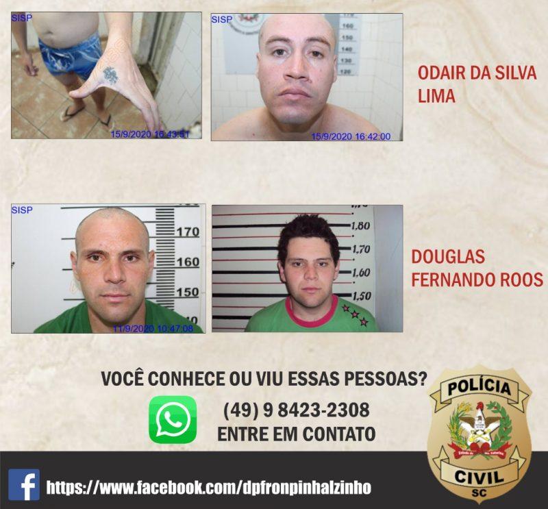 Foragidos são réus no crime que ocorreu em Nova Erechim em abril. – Foto: Polícia Civil/Divulgação/ND