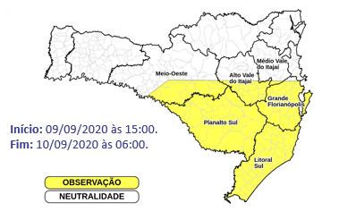 Nas áreas em amarelo, há chances de chuva com rajada de vento e granizo nesta quarta – Foto: Defesa Civil/Divulgação
