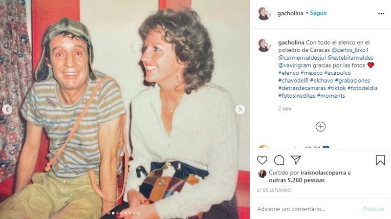 Graciela Rivero, ex-mulher de Carlos Villagrán postou fotos inéditas com o elenco de Chaves – Foto: Reprodução Instagram/ND