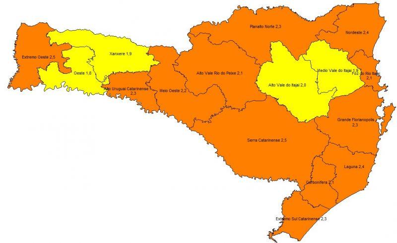 Mapa atualizado foi divulgado na manhã desta quinta-feira (15) – Foto: SES/Divulgação