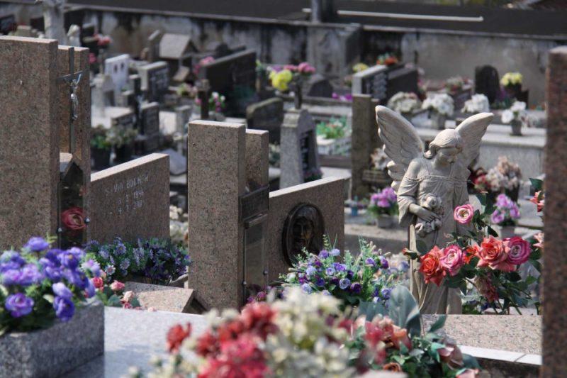 Foto de um cemitério. Aparecem vários túmulos, imagens de anjos e cruzes, bem como várias flores.