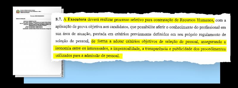 Cláusula do contrato de gestão assinado em outubro de 2018 prevê processo seletivo para garantir isonomia de escolha, ato que não foi realizado pelo IMAS, segundo a SES – Arte: Rogério Moreira Júnior/ND