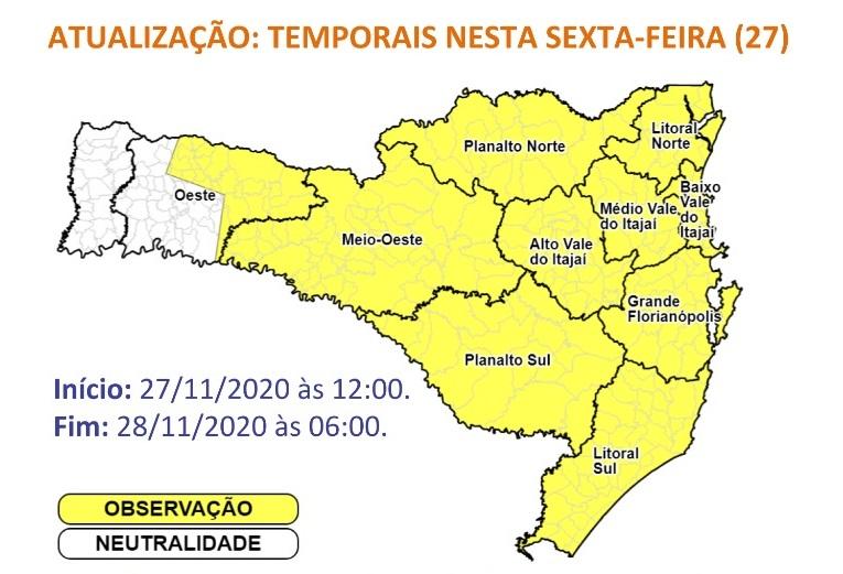 Áreas em amarelo tem chances de temporais – Foto: Reprodução/Defesa Civil