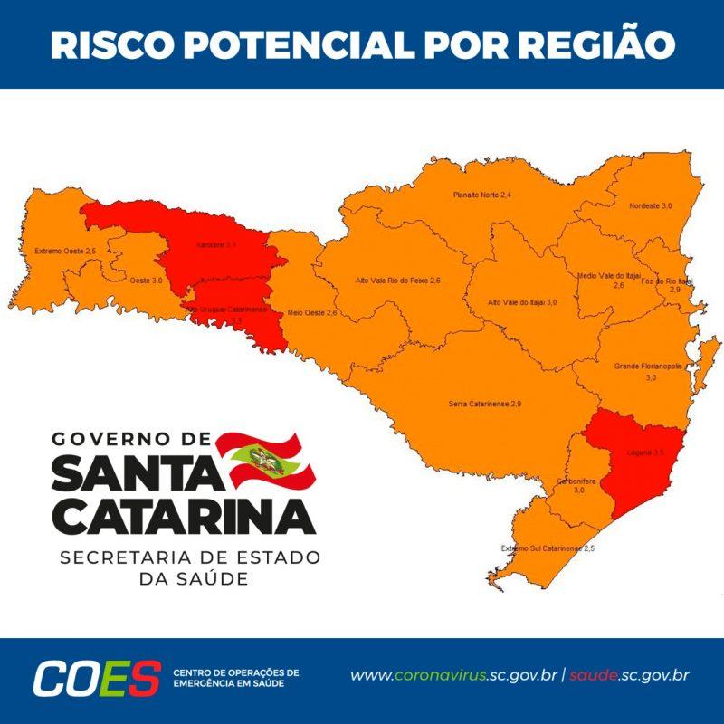 Mapa de risco divulgado pela SES nesta quarta-feira – Foto: Divulgação/ND