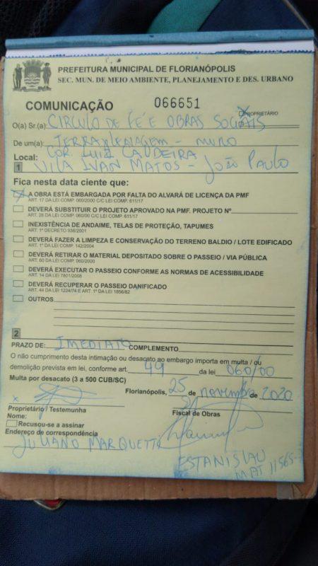 Documento de embargo emitido pela prefeitura – Foto: Reprodução/ND