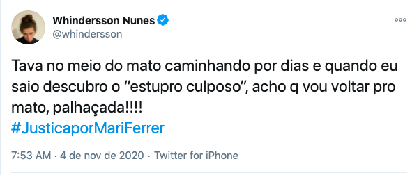 O comediante Whindersson Nunes se manifestou nesta manhã de terça (4) sobre o caso – Foto: Twitter/Reprodução