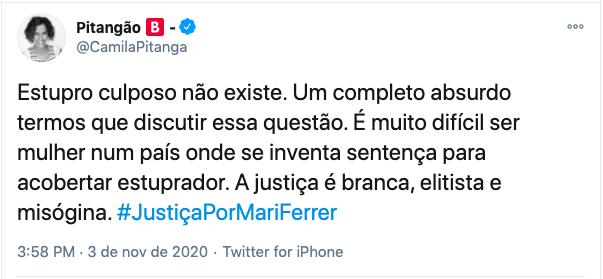 Camila Pitanga foi uma das celebridades que se manifestou sobre o caso – Foto: Twitter/Divulgação