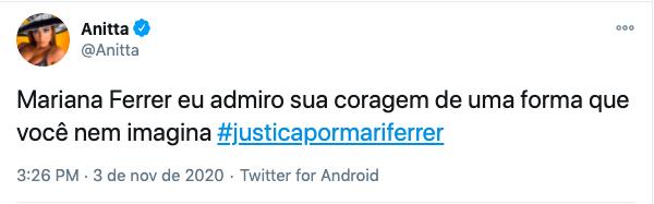 Anitta usou a #justicapormariferrer em seus comentários no Twitter – Foto: Twitter/Reprodução