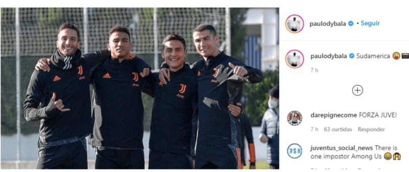 Dybala comete gafe e chama Cristiano Ronaldo de sul-americano – Foto: Foto: Twitter