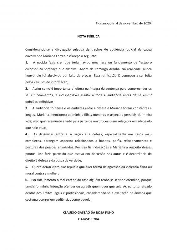 Nota do advogado de defesa Cláudio Gastão da Rosa Filho – Foto: Divulgação