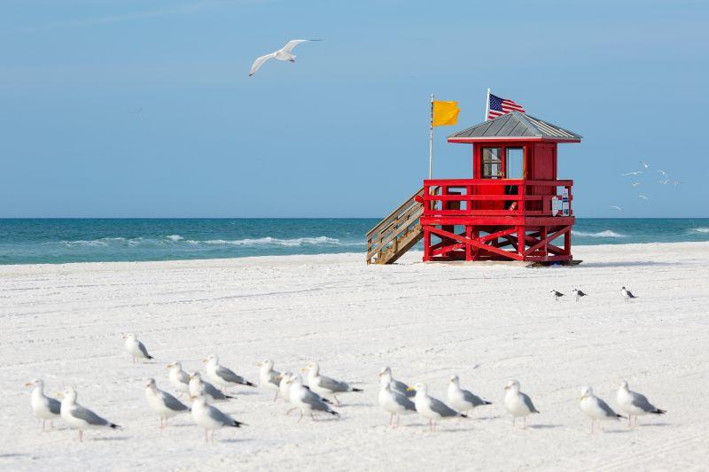 A Siesta Beach é uma boa opção para quem quer curtir um litoral com areia branca na Flórida, nos EUA - Shutterstock.com - Shutterstock.com/Rota de Férias/ND