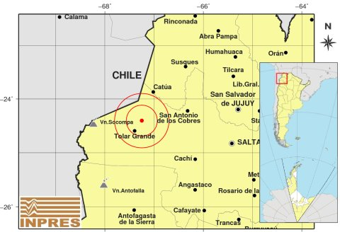 Terremoto de magnitude 6,3 é registrado entre Argentina e Chile. Imagem mostra epicentro do terremoto – Foto: Divulgação/ND