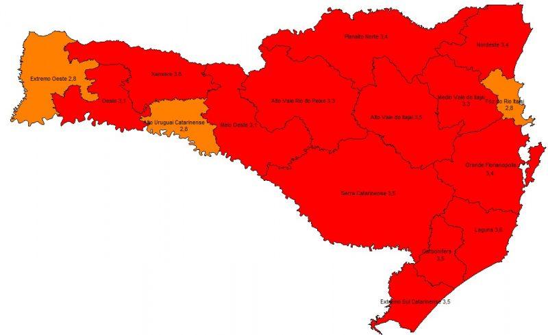 Novo mapa de risco da Covid-19 em Santa Catarina mostra 13 regiões em nível gravíssimo – Foto: Divulgação/ND