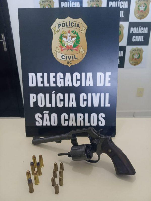 Polícia Civil apreendeu a arma do crime. – Foto: Polícia Civil/Divulgação