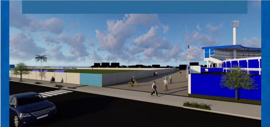 Calçada para passagem será calçado entre o muro do CT e estádio - Reprodução/YouTube/ND