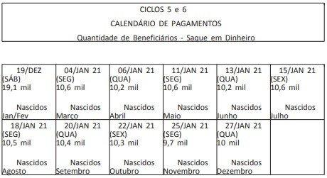 Pagamento é dividido por ciclos de acordo com a data de nascimento dos beneficiários – Foto: Diário Oficial da União/Reprodução