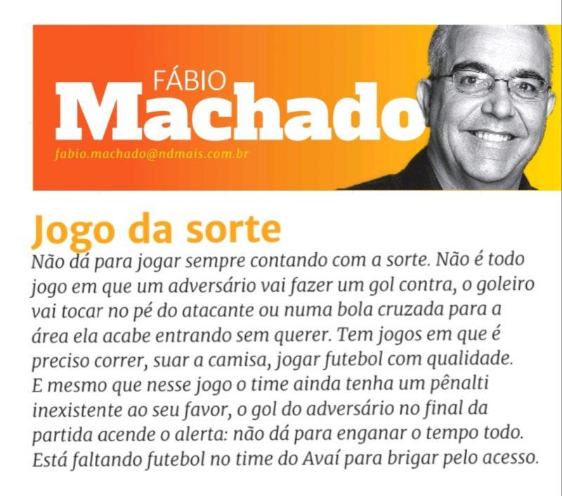 Comentário na coluna do ND desta segunda (30). – Foto: Fábio Machado/reproduçaõ