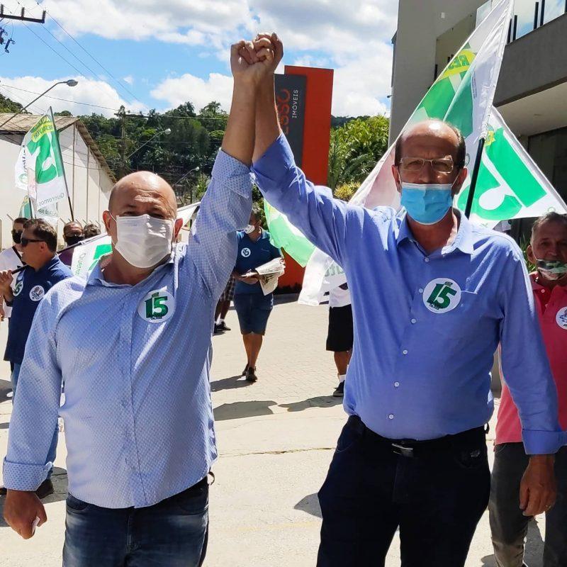 Ari Vequi e Gilmar Doerner receberam o apoio de Luciano Hang durante a campanha. Eles vão governar Brusque pelos próximos quatro anos – Foto: Reprodução/Facebook