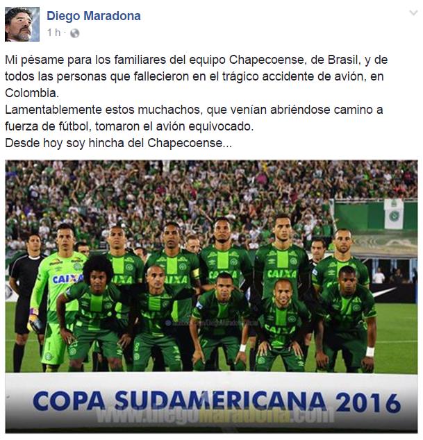 Publicação de Maradona à época – Foto: Reprodução/ND