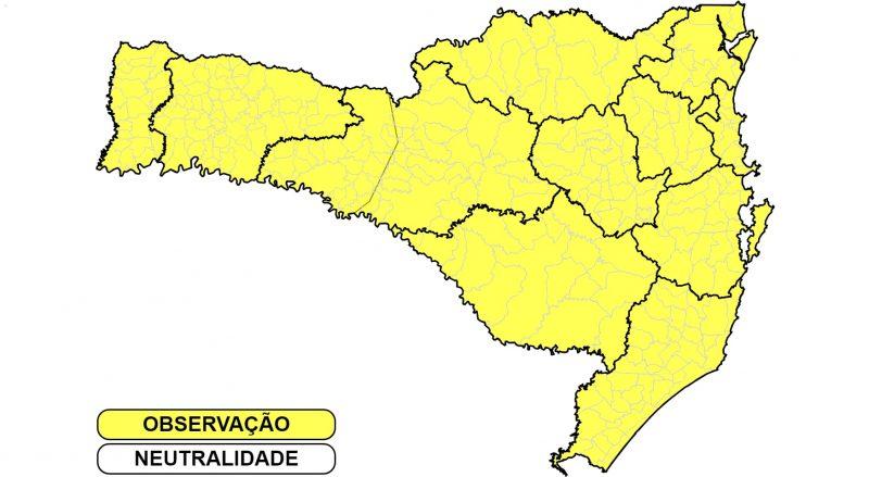Mapa da Defesa Civil mostra todas as regiões do Estado em observação para a possibilidade de temporais nesta segunda-feira (30)