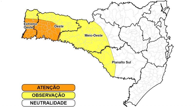Baixa umidade relativa do ar pode ficar abaixo dos 20% em algumas áreas do Oeste nos próximos dias – Foto: Divulgação/Defesa Civil