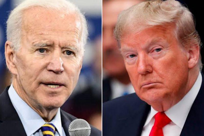 Biden e Trump lado a lado, em momentos diferentes, em close
