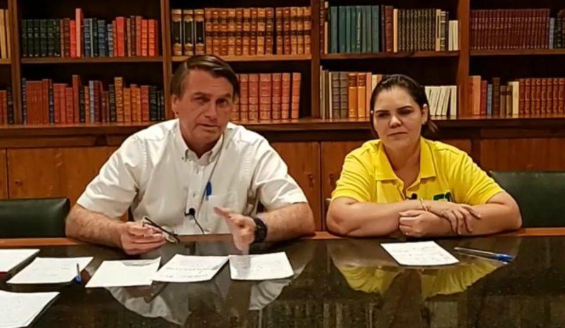 Bolsonaro fez uma live neste sábado (7) ao lado da Coronel Fernanda (Patriota), candidata ao Senado pelo Mato Grosso – Foto: Reprodução/Facebook
