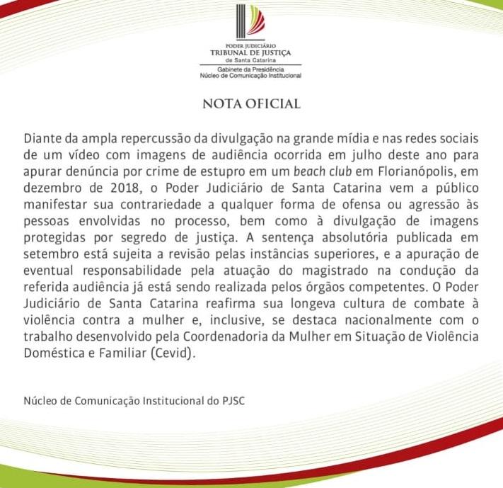 Nota divulgada pelo TJSC na quarta-feira (4) sobre o caso Mariana Ferrer – Foto: Divulgação