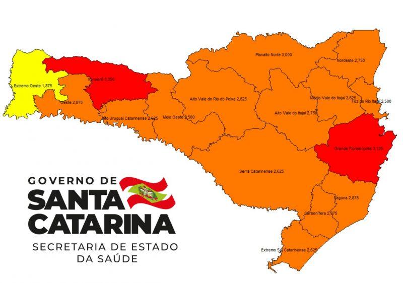 Novo mapa de risco divulgado pela SES nesta quinta-feira (12). Meio-Oeste passou ao nível grave – Foto: SES/Divulgação/ND