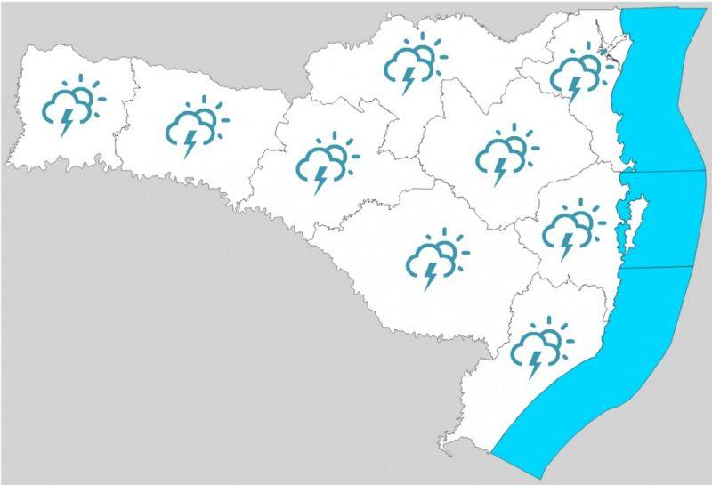 Mapa para esta sexta (18) no Estado indica chuva em todas as regiões de Santa Catarina – Foto: Reprodução/Defesa Civil/SC