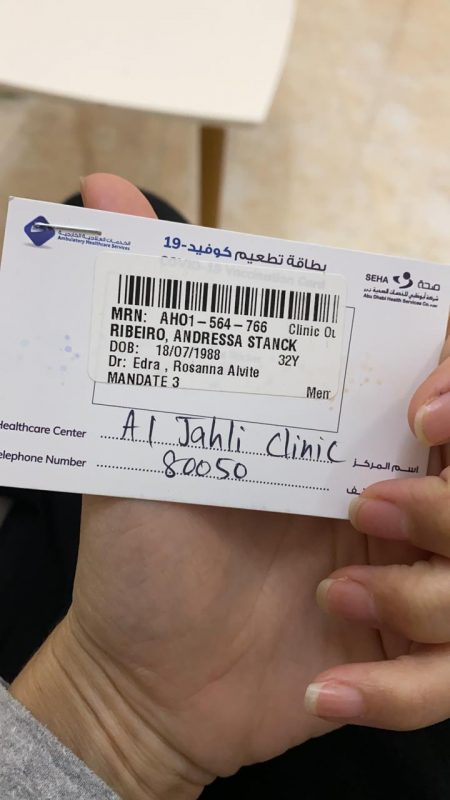 Comprovante de vacinação contra a Covid-19 da personal Andressa Stanck Ribeiro nos Emirados Árabes Unidos – Foto: Arquivo pessoal/ND