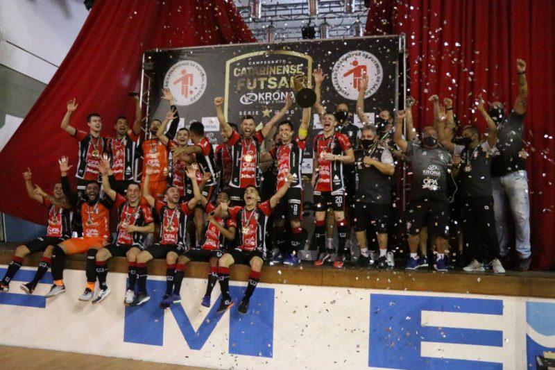 JEC/Krona conquistou o título do Campeonato Catarinense em 2020 e agora enfrenta o Joaçaba pela Recopa – Foto: Juliano Schmidt/JEC/Krona