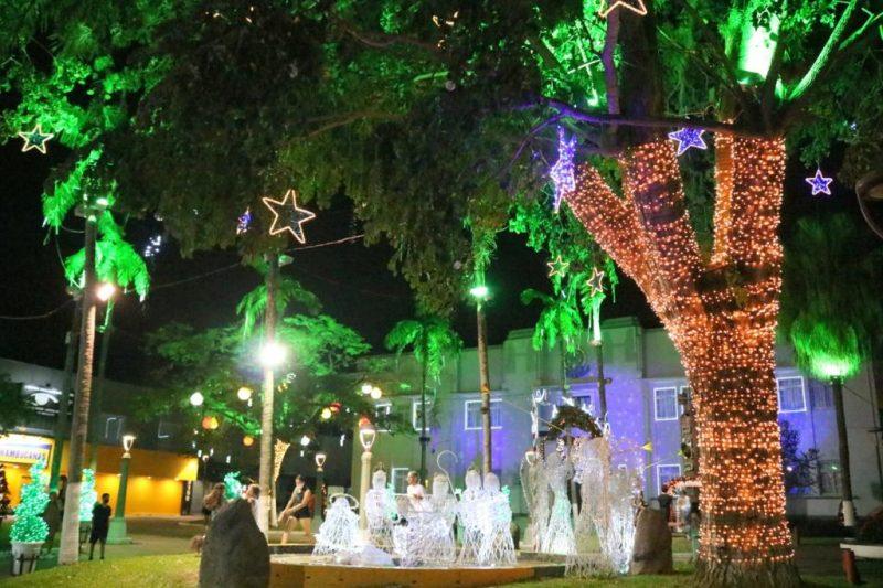 Em Jaraguá do Sul, uma das principais praças da cidade, a Ângelo Piazera, já está totalmente enfeitada e pronta para receber o público com o espírito natalino, como acontece todos os anos – Foto: Divulgação ND