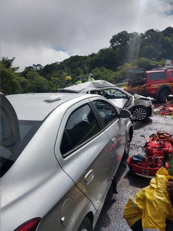 A colisão causou um óbito e deixou seis feridos – Foto: Divulgação/CBMSC