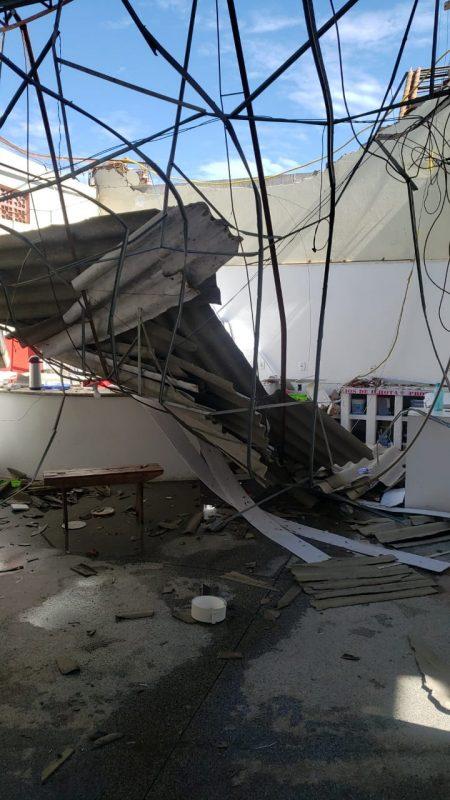 Batalhão dos Bombeiros de Ilhota foi destruído por tempestade na terça-feira – Foto: Bombeiros de Ilhota/Divulgação