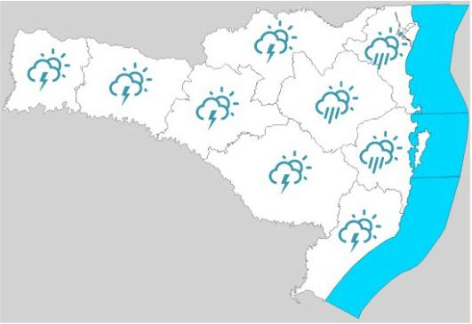 Áreas mais afetas pela chuva em azul no mapa – Foto: Defesa Civil/Divulgação