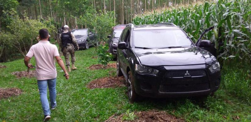 Os veículos utilizados pelos criminosos foram encontrados em uma plantação na cidade de Nova Veneza, próxima a cidade de Criciúma, logo na manhã do dia 1º. Eram ao todo dez veículos. – Foto: Divulgação ND