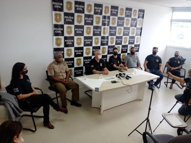 Polícia Civil concedeu entrevista coletiva sobre o caso do sequestro de criança em Palhoça – Foto: Polícia Civil/Divulgação/ND