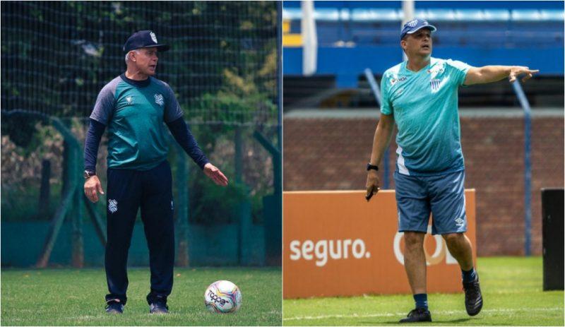 Treinador Jorginho na esquerda e Claudineir Oliveira na direita durante treino das equipes